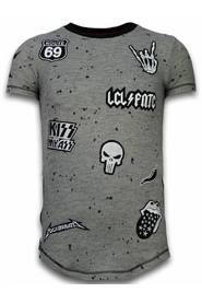 Longfit Asymmetric Embroidery - T-Shirt Patches - Rockstar