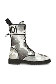 Floral-print boots with logo