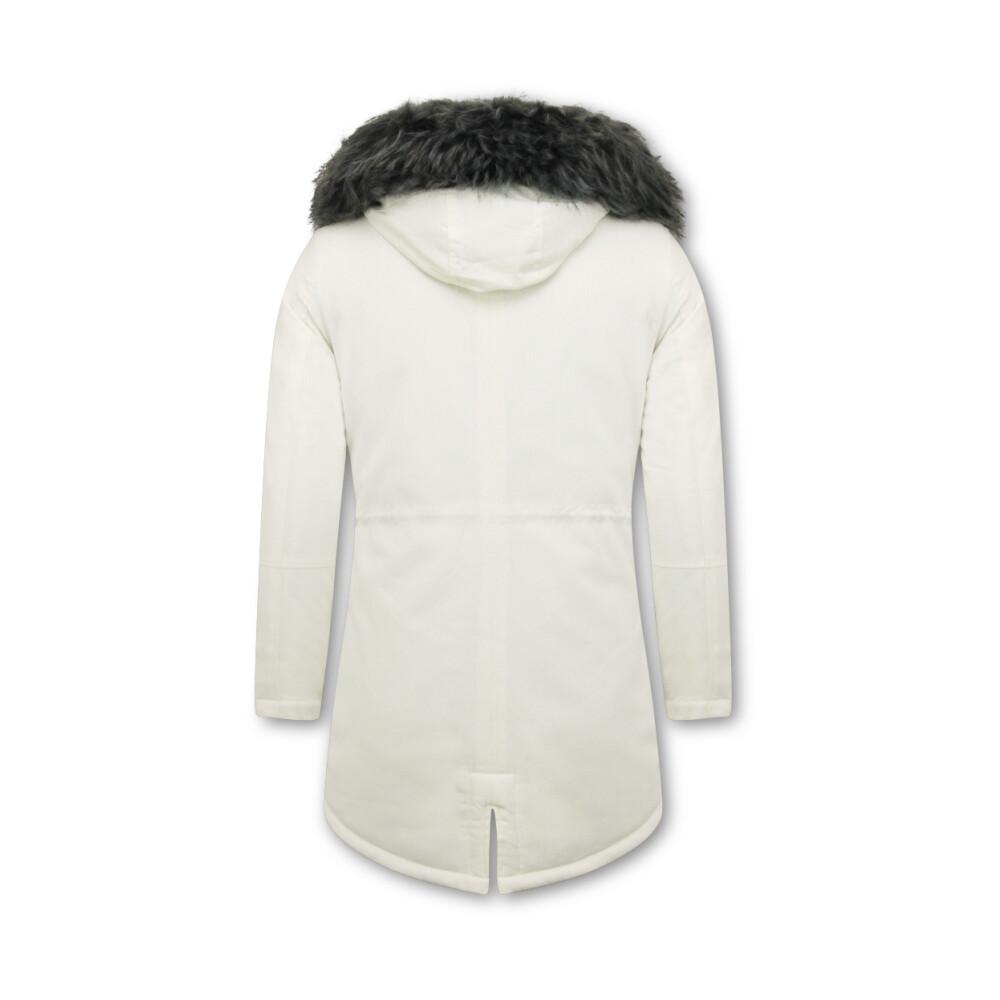 Enos White Long Men's Winter Coat With Fake Fur Collar Enos