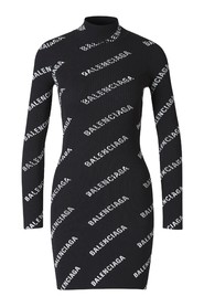 Ribbed Dress with Logo Motif