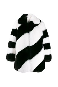 FUR DIAGONAL STRIPED COAT