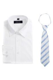 skjorte med blått slips