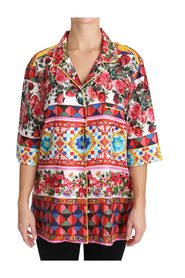 Carretto Print Short Sleeve Top Blouse