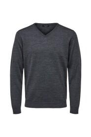 Strikket Pullover Merino uld V-hals