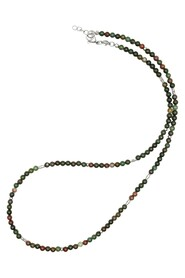 Beaded Necklace with Oriental Jasper and Sterling Silver Tube Beads