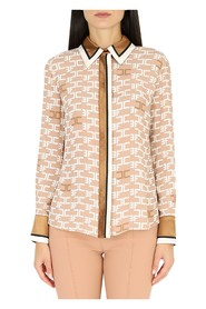 Shirt with logo print and contrasting piping