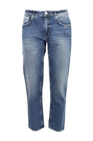 used effect light wash jeans