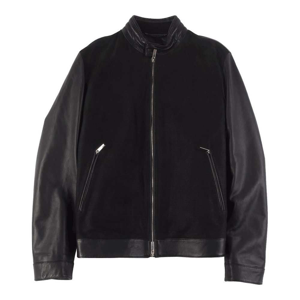 Tailored Leather Jacket with Perforated Front
