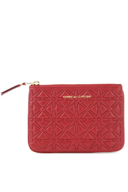 Pochette wallet in red printed leather