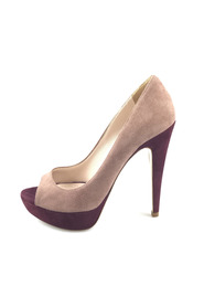 Bi-color Suede Open-Toe Platform Pump