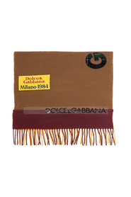 Wool patchwork scarf with jacquard logo