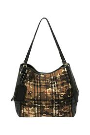 Brukte Leather and Camouflage Horseferry Check Nylon Small Canter Tote