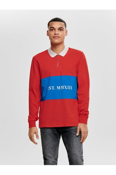 Poloshirt Polo's Mouw High Risk Red Lange Onlyamp; Sons ZOPkXiu