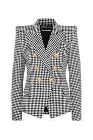 Double-breasted Houndstooth Jacquard Blazer