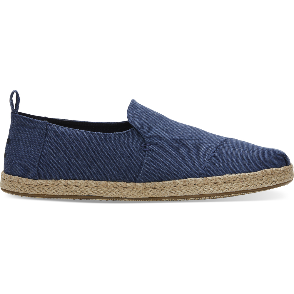 Navy Wash Canvas/Rope Toms Deconstructed Alpargata
