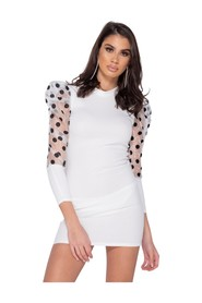 Sheer Polka Dot Organza Sleeve Bodycon Mini Dress