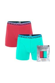 Muchachomalo 2-pack boxershorts solid coral/blauw-S
