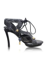 Python Suede Patent Lace High Heel Sandals -Pre Owned Condition Gently Loved