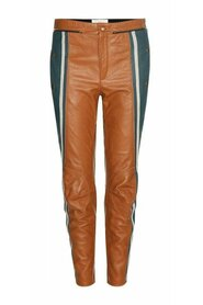 Biker Cropped Striped Leather Pants
