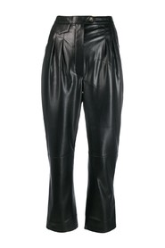 faux-leather relaxed fit trousers