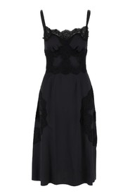 Dress with lace edge in satin finish