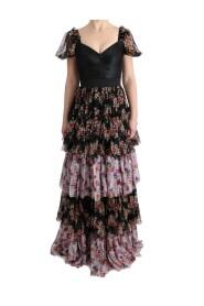 Cambio de seda cremallera vestido floral largo