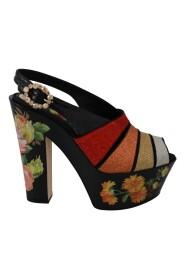 Kwiatowe kliny Sandały z paskiem na kostkę Buty