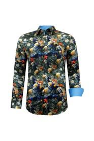 Luxe Satijn Heren Overhemd met Kleurrijke Print- 3095