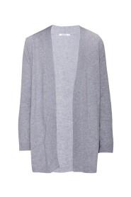 Cardigan aperto in lana, seta e cashmere