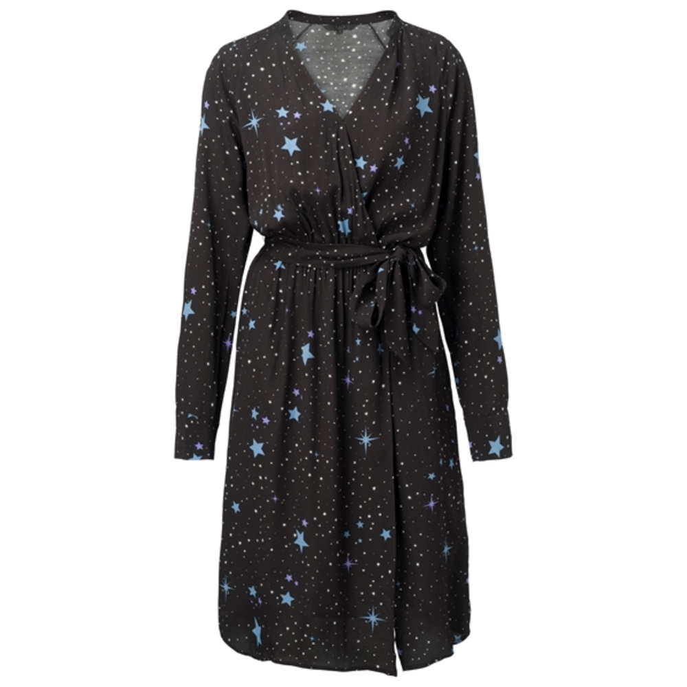 WOVEN WRAP DRESS STAR PRINT
