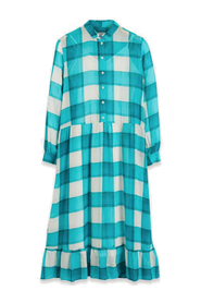Ruffle-Hem Check Midi Dress