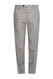 Checked pleat-front trousers
