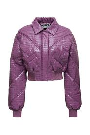 Cropped Jacket in Crocodile Printed Fabric