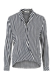 White W Navy Stripes Dame Anna Top Top