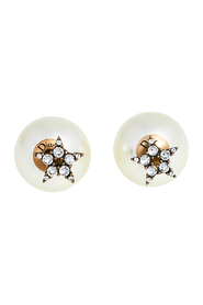 pre-owned Crystal Star Aged Faux Pearl Tribales Earrings