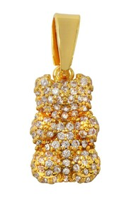 Pave Nostalgia Bear Pendant in Gold Plated Brass and Crystals
