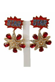 Brass STAR Clear Crystal Clip-on Dangle Earrings
