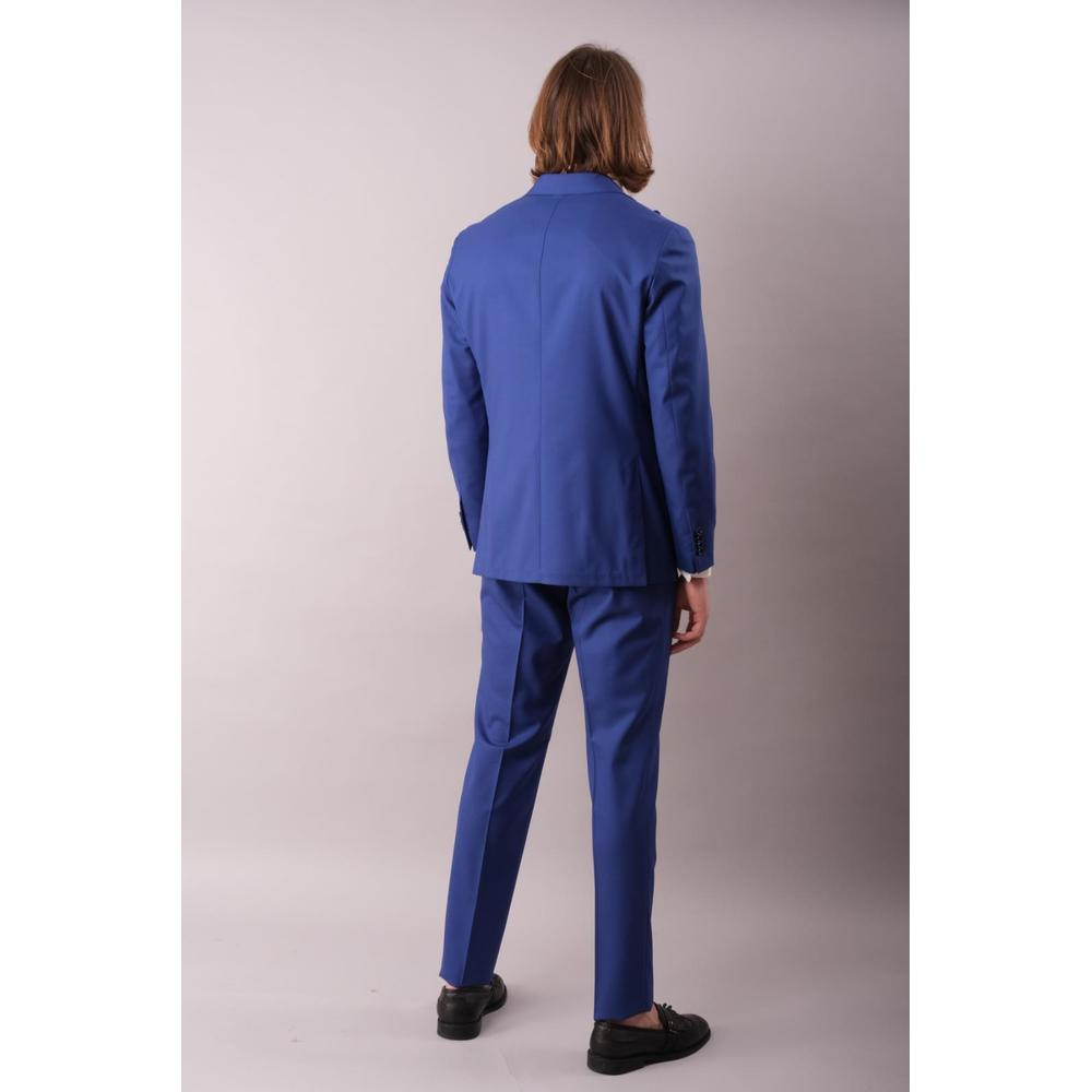 Blue 2-BUTTON SUIT WITH SPOUT-BREASTED | Gaiola | Garnitury całe - Najnowsza zniżka HaFUD