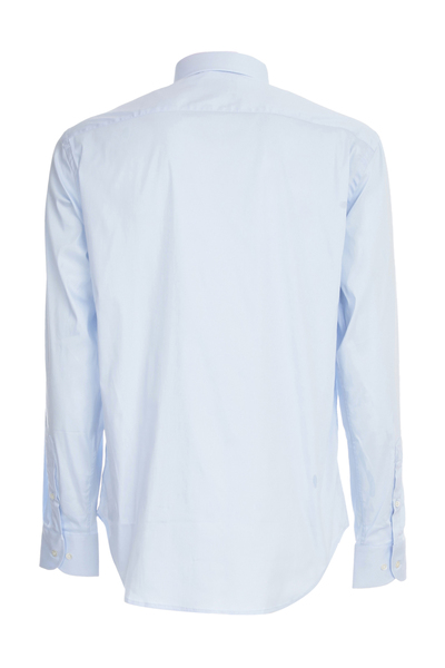 Emporio Armani Light Blue Tailored Knitted Shirt Zakelijke Overhemden - Blauw