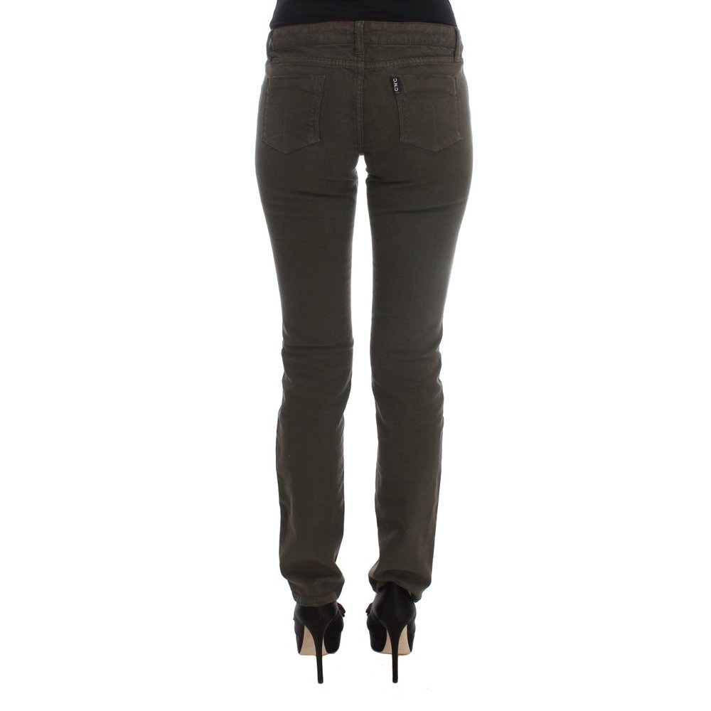 Costume National Green Cotton Blend Slim Fit Jeans Costume National