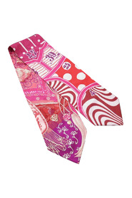 Pre-owned Printed Twilly Silk Scarf Fabric