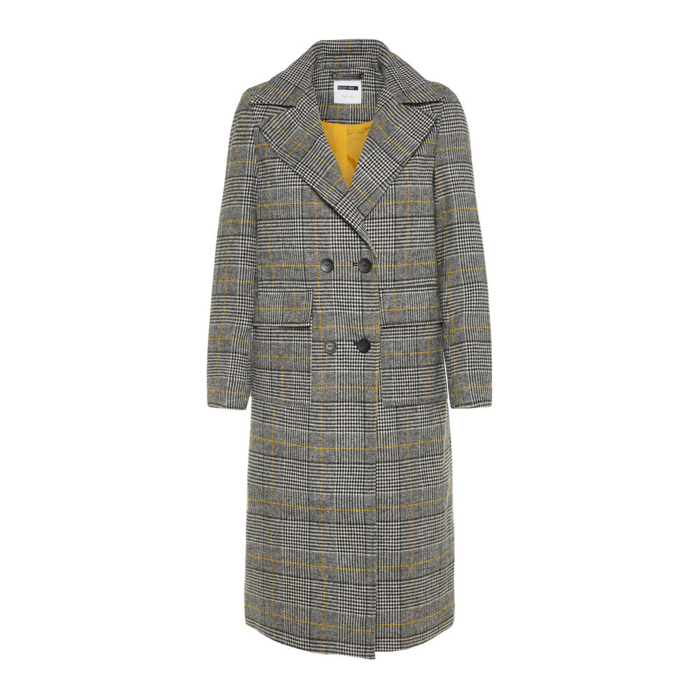 Coat Long Chequered Wool