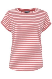Pamila t-shirt - Stribed sunkist coral