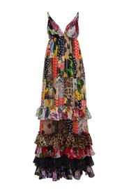 Long Patchwork Chiffon Dress with Floral Print
