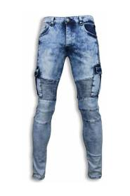 Slim Fit Biker Pocket Jeans