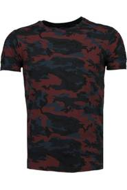 Camouflage Print Ribbed T-Shirt
