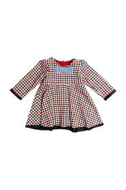 CHECKED DRESS WITH BOW AT THE NECK