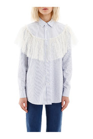 Striped shirt with plumetis ruffle