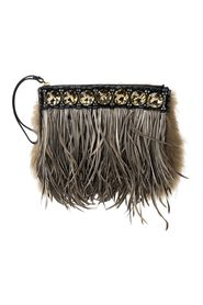 Feather and Crystal Studded Clutch