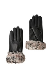Faux Fur Trim Leathe Gloves